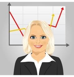 Senior businesswoman with rising arrow vector