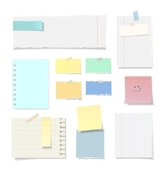 Set blank torn paper sheets isolated vector