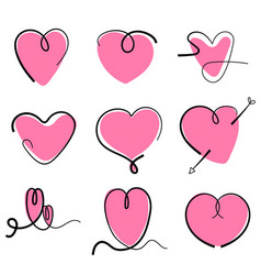 set hand drawn heart line isolated on white vector image
