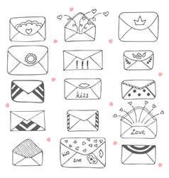 Set hand drawn mailing envelopes communication vector