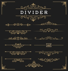 Set horizontal flourishes divider vector