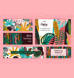 Set of abstract creative templates with tropical vector