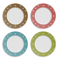 Set of color plates with polka dot pattern vector