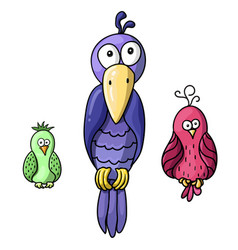 Set of cute cartoon colored birds vector
