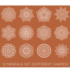 Set of ethnic fractal mandala meditation tattoo vector
