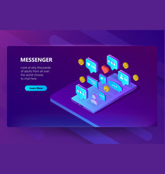 site template for adult messenger chat vector image