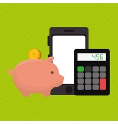 Smartphone piggy taxes vector