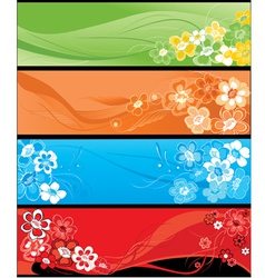 summer flowers horizontal banners vector image