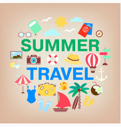 summer travel icon set vacation holidays and vector image