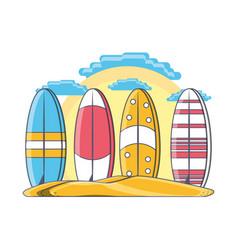Surfboard on beach design vector