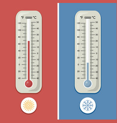 Thermometer celsius and fahrenheit meteorology vector