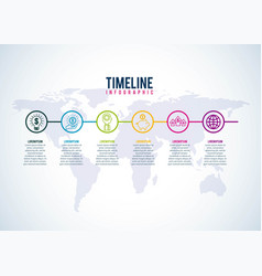 timeline infographic world business company steps vector image