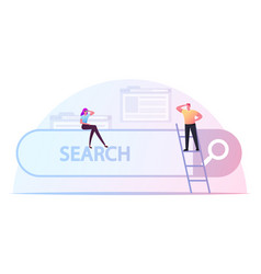 Tiny male and female characters search information vector