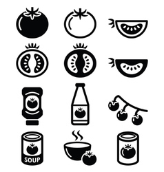 Tomato ketchup tomato soup icons set vector image