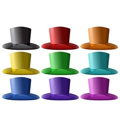 Top hats in nine different colors vector