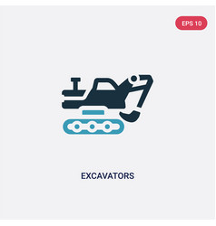 Two color excavators icon from transportation vector