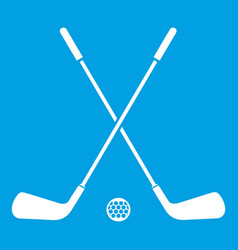 Two crossed golf clubs and ball icon white vector