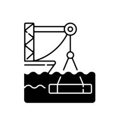 underwater construction black linear icon vector image