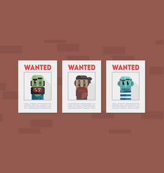 Wanted criminals banner template placards with vector