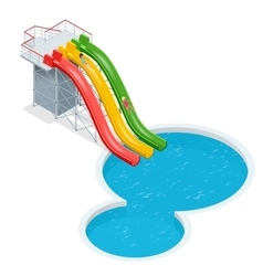 Water slides isolated on a white background Flat vector