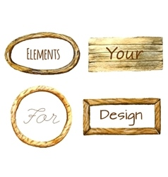Watercolor frames with wood texture vector image