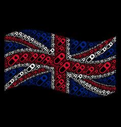 Waving united kingdom flag pattern of love granule vector