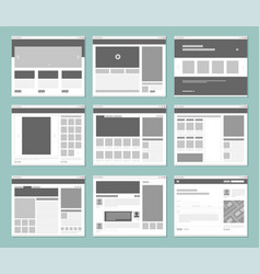 web pages layout internet browser windows with vector image