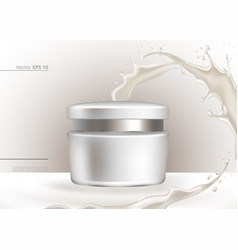 White cream cosmetics with splash realistic vector