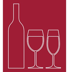 Wineglasses and bottle vector image vector image
