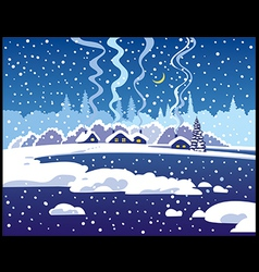 Winter blue evening landscape vector image