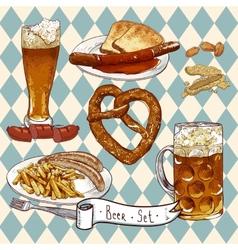 Beer Set with beer glasses pretzel sausages vector image