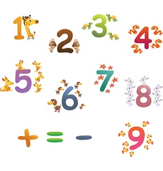 Collection of animals number for children vector image vector image