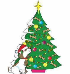 doggie Christmas tree vector image vector image