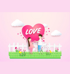 happy couple in love heart shape in a field vector image vector image