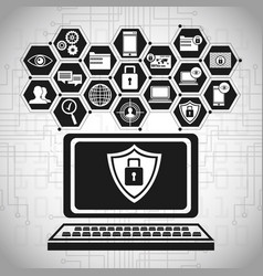 laptop technology security data vector image vector image