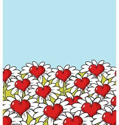 Love flower landscape Chamomile meadow Blue sky vector image