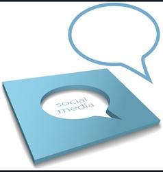 social media speech bubble box cut out vector image vector image