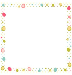 Easter eggs colorful frame with polka dot vector image