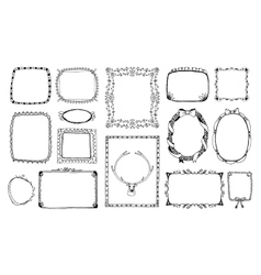 Hand-drawn doodle frames vector