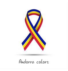 modern colored ribbon andorra tricolor vector image