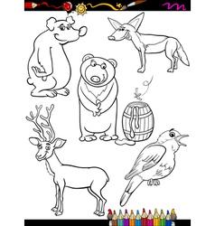animals set cartoon coloring page vector image