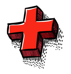 cartoon image of plus icon cross symbol vector image