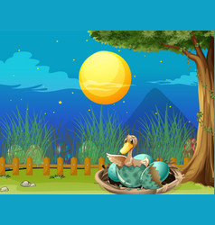 Duck hatching egg at night vector