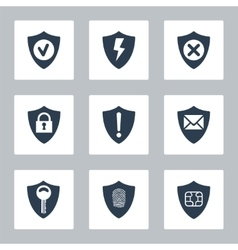 Flat security icons set vector image vector image