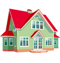 House with red roof on white background vector image vector image