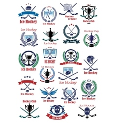 Ice hockey game icons and symbols vector image vector image