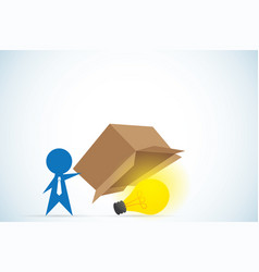businessman open box and see light bulb inside vector image vector image