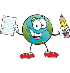 Cartoonearth holding a paper and pencil vector image