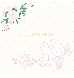 Invitation template birds with flowers vector image
