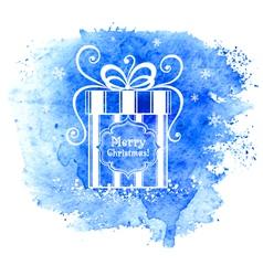 Merry Christmas gift box Greeting card vector image